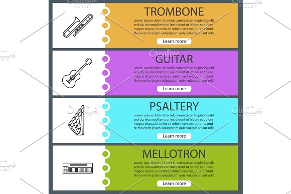 Musical Instruments Web Banner Templates Set