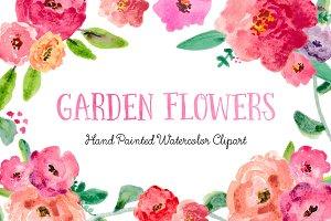 Garden Florals Watercolor Clipart