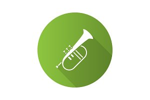 Flugelhorn flat design long shadow glyph icon