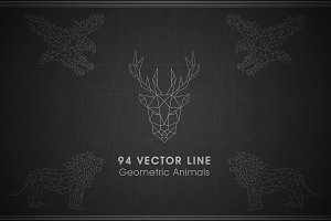 94 Vector Line Geometric Animals