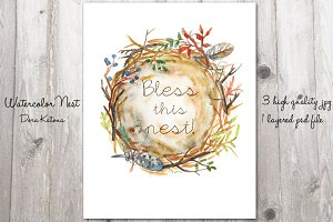 Printable Watercolor Nest