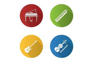 Musical instruments flat design long shadow glyph icons set