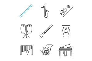 Musical instruments linear icons set