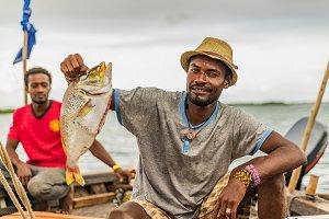 Kenyan fisherman with his catch