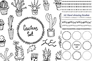 Hand drawing. Cacti set.
