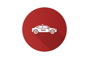 Car flat design long shadow glyph icon