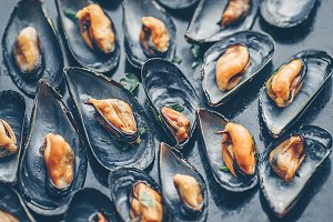 Seafood mussels background
