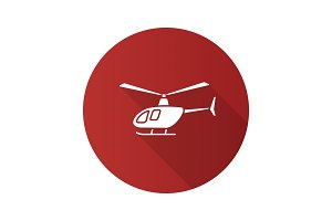 Helicopter flat design long shadow glyph icon