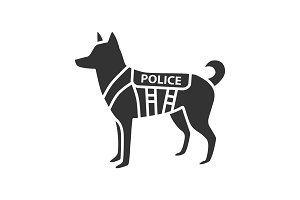 K9 police dog glyph icon