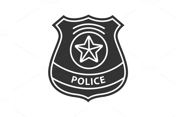 Police Detective Badge Glyph Icon