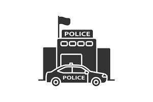 Police department building glyph icon