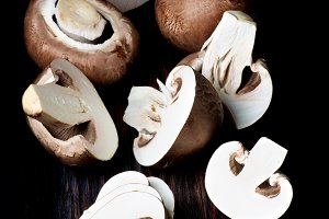 Raw Portobello Mushrooms