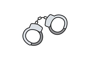 Handcuffs color icon