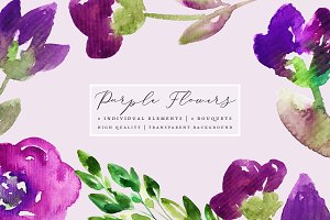 Purple Flowers - Clip Art Set