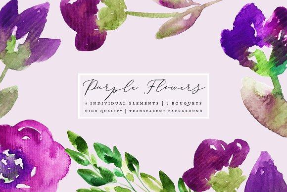 Purple Flowers Clip Art Set