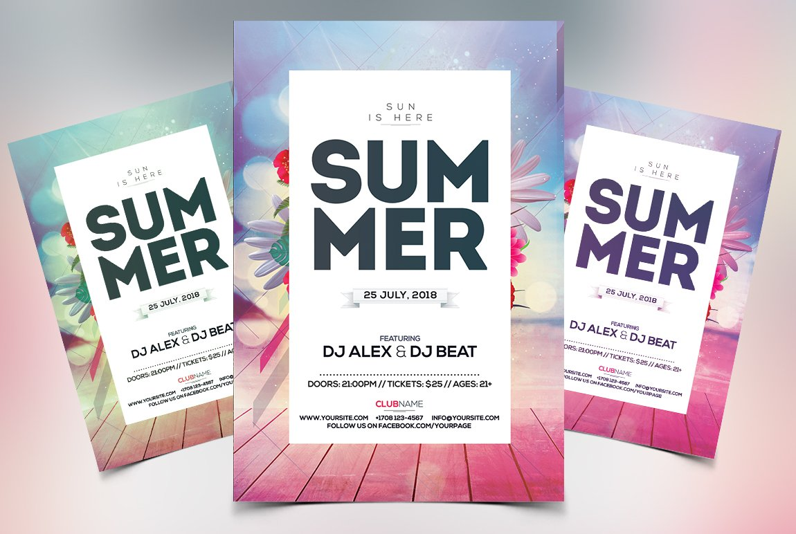 Summer event psd flyer template flyer templates creative market maxwellsz