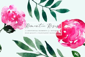 Romantic Roses - Watercolor Flowers