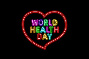 world health day neon vector heart