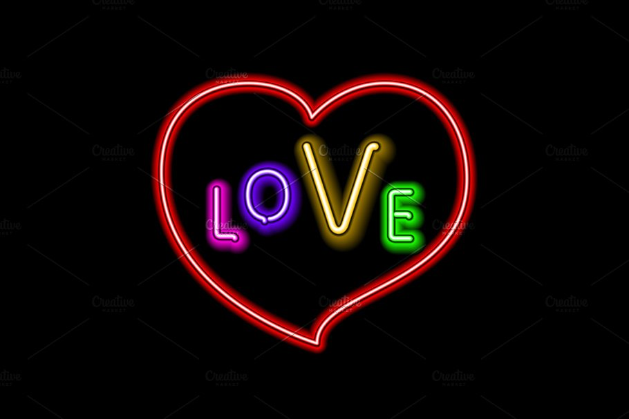 Love neon sign heart vector in Graphics - product preview 8