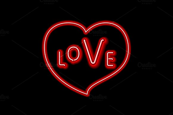 Love neon sign heart vector in Graphics - product preview 1