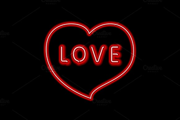 Love neon sign heart vector in Graphics - product preview 2