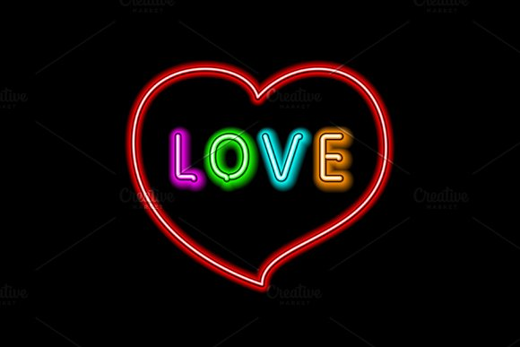 Love neon sign heart vector in Graphics - product preview 3