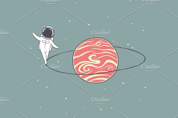 Astronaut Walks Around Saturn