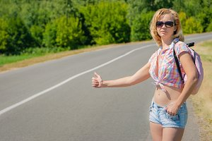 Girl traveling hitchhiking