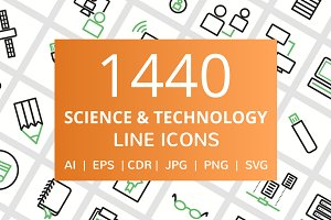1440 Science & Technology Line Icons
