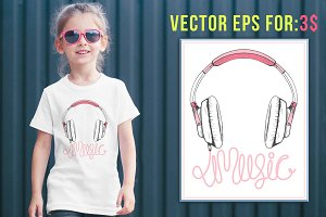 headphone music illustration vector