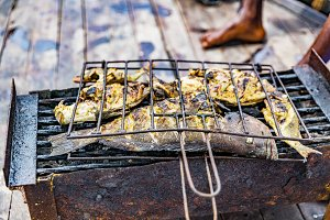 Catch of fresh ocean fish cooking