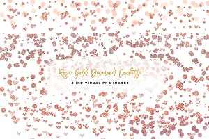 Rose Gold confetti heart clip art, p