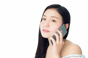 woman talking smartphone.