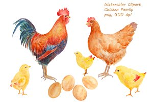 Watercolor Clipart Chicken Family