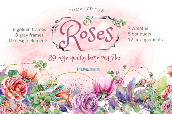 Eucalyptus & Roses: polygons+floral…