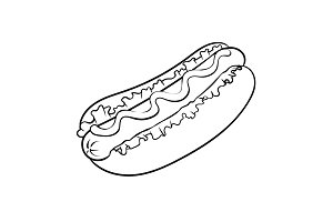 Hot dog coloring book vector illustration