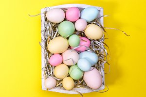 Colorful eggs in a tray on yellow