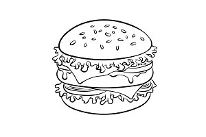 Burger sandwich coloring book vector
