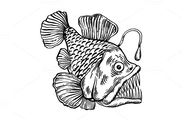 Deepwater Fish With Lighter Engraving Vector