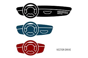 Three icons car dash boards