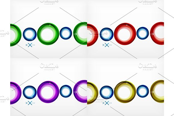 Set Of Flying Abstract Circles Backdrops Vector Geometric Backgrounds Color Air Bubbles Web Banner Templates Business Or Technology Presentation Backgrounds Or Elements