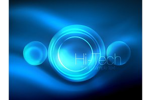 Blurred blue neon glowing circles, hi-tech modern bubble template, techno glowing glass round shapes or spheres. Geometric abstract background