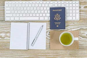 USA Passport on Office Desktop Items
