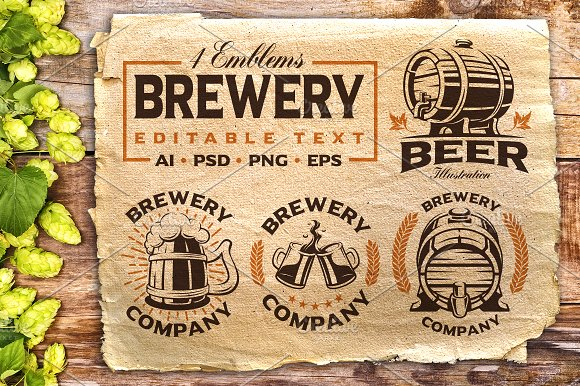 Set Of Vintage Beer Emblems