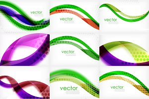 Set of business corporate abstract backgrounds, wave brochure or flyer design templates