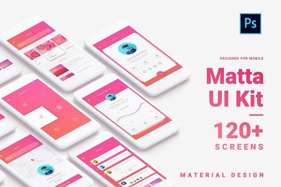 Material Design Mobile UI Kit For Ps