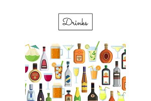 Vector background with alcoholic drinks in glasses and bottles and with place for text