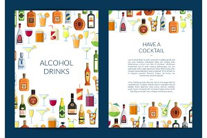 Vector card or brochure template for bar with alcoholic drinks in glasses and bottles
