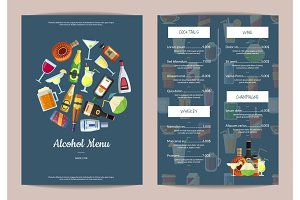 Vector menu template with alcoholic drinks in glasses and bottles