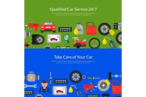 Vector web banners page illustration with flat style car service elements